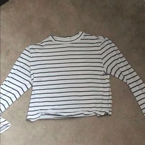 white and black stripped crop top